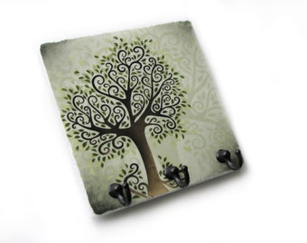 Green Tree Wall Decor Key Rack, Jewelry Organizer, Key Holder, Key Hook Hanger, Decorative Tile (11)