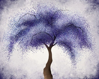 Violet Purple Home Decor 11 x 14 Living Room Tree Wall Art, Willow Tree Print, Lavendar Abstract Art (110)