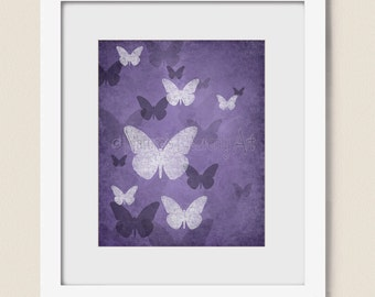 Deep Purple Wall Decor For Girls Room 8 X 10 Bedroom Butterfly Wall Art Nature Artwork Home Decor 313