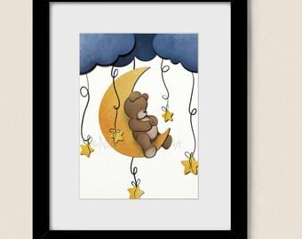 5 x 7 Childrens Art Print, Teddy Bear Baby Nursery Wall Decor, Childs Room Artwork, Moon and Stars  (169)