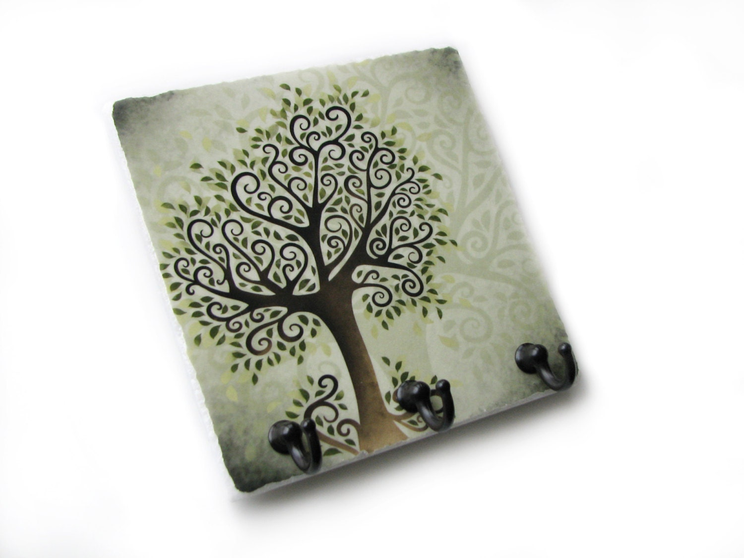 Green tree wall decor key rack jewelry organizer key holder for Mural key holder
