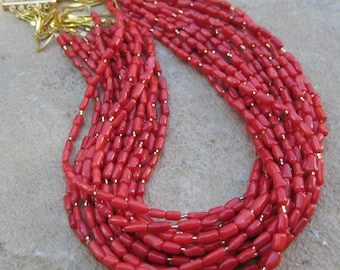 The Julie,  chunky, statement necklace with ten strands of red coral