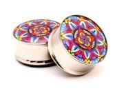 Mandala Style 1 Picture Plugs gauges - 16g, 14g, 12g, 10g, 8g, 6g, 4g, 2g, 0g, 00g, 7/16, 1/2, 9/16, 5/8, 3/4, 7/8, 1 inch