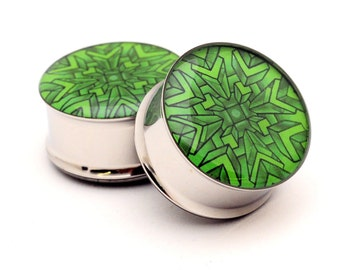 Geometric Style 4 Picture Plugs gauges - 16g, 14g, 12g, 10g, 8g, 6g, 4g, 2g, 0g, 00g, 1/2, 9/16, 5/8, 3/4, 7/8, 1 inch