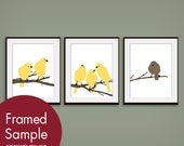 Birds on a Branch Series - Set of 3 - Art Prints (Modern French Style)  customizable colors