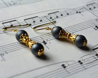 Beaded Slate Gray Gold Earrings Dangle Smooth Drop