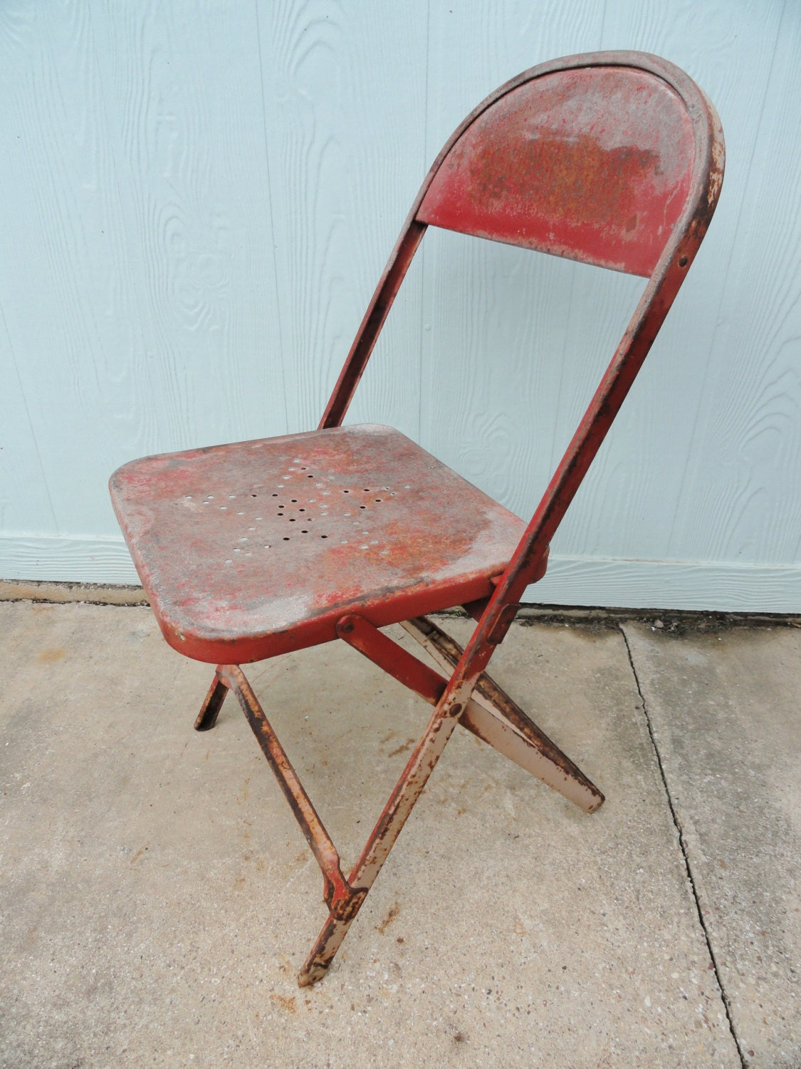 Vintage Chair Metal Folding Texas Star Punched By