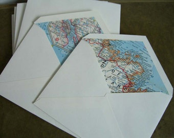 Eastern Canada vintage map lined envelopes.  Recycled 1960s maps for Travel art.  Set of 12.  A2 size.