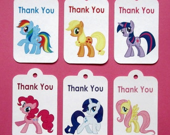 My Little Pony Thank You Tags. My Little Pony Birthday Tags . My Little Pony Party Favors . Set of 12