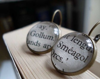 Tolkien Earrings, Gollum and Smeagol Earrings, Literature Gift, Bronze Earrings, The Hobbit Gift, Under 25
