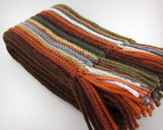 Striped Autumn Scarf, Merino Wool Crochet Scarf in warm fall colors