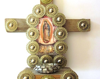 Folk Art Cross Mixed Media Art Handmade Wood Cross Our Lady of Guadalupe