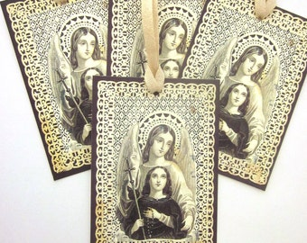 Religious Handmade Gift Tags First Communion Saint Agnes Holy Card