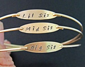 3 Sisters Bracelet Set, 3 Sisters Jewelry, Big Sis, Mid Sis, Lil Sis, three, Big Sister, Middle Sister Little Sister, Birthday Gift Sisters