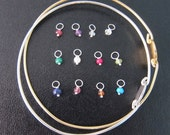 Add a Birthstone Charm to your Bangle Order - Sterling Silver or Gold Filled, Birthstone Bangle, Birthstone Bracelet, Birthstone Jewelry