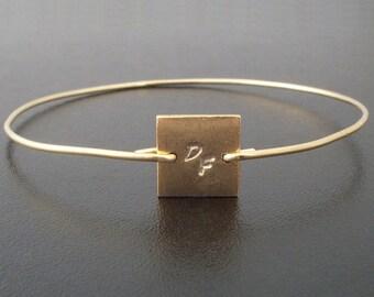 Initial Charm Bracelet, Initial Charm Bangle, Square Bracelet, Geometric Jewelry, Letter Bangle, Gold Letter Bracelet, Gold Initial Bangle