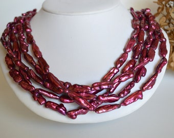 Raspberry biwa pearl and crystal five strand statement necklace, biwa pearl necklace, multistrand pearl necklace
