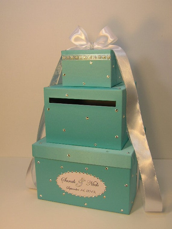 Wedding Gift Box Tiffany Blue : Blue Wedding Card Box Gift Card Box Money Box Holder With MONOGRAM