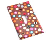 Hot Dot Multi Dots on Brown Light Switch Plate Cover