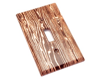 Brown Woodgrain Faux Bois Light Switch Plate Cover