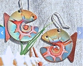 Copper earrings, green torched jewelry fish