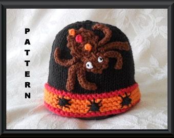 Knitted Hat Pattern Baby Hat Pattern Newborn Hat Pattern Infant Hat Pattern Spider hat Pattern Halloween Baby Hat: SPIDER