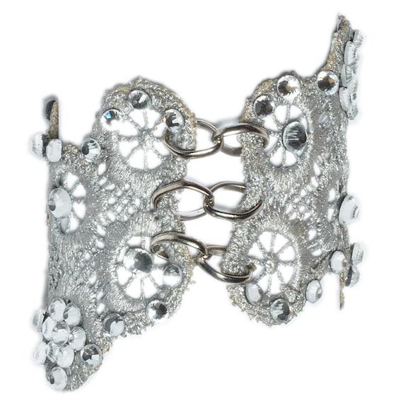 Lace oversized silver bracelet. Bride bracelet.