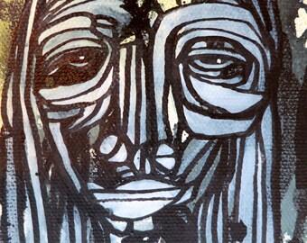 Canvas Original abstract art Face Painting 4 x 6 x 2 Fine Art