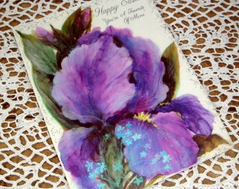 Easter Card, Favorite Person, Hallmark, Purple Iris, Old Greeting Card, Flower, Floral, 1970's  (71-14)