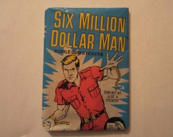 Vintage Six Million Dollar Man Wax Pack  Bubble Gum Cards with Gum From 1976 Unopened