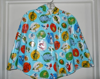 Girls Hooded Laminated Rain Cape Cloak Coat Size 5-6 Dr. Seuss