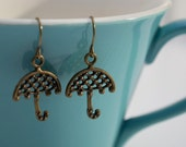 Bronze Umbrella Earrings- Small Antiqued Bronze Umbrella- Mary Poppins Earrings