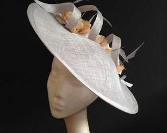 Silver & Coral Saucer - Great hat for Weddings and Races can be made in other colours