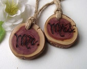 Mr. & Mrs. Wood Charms - Cedar Wood - Rustic Eco-Friendly Wood Burned Toasting Glass Tree Branch Tags - For a Southern or Woodland Wedding