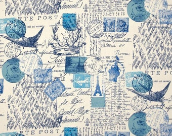 Blue french script body pillow cover - 20x54 -  french stamp blue accent pillow cover