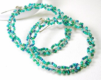 Large Silver Hoop Earrings Wire Wrapped Seed Bead Hoops Sterling Earwires Turquoise Seed Beads
