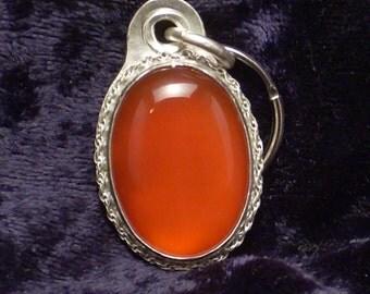 Carnelian gemstone pendant style sterling silver dog tag