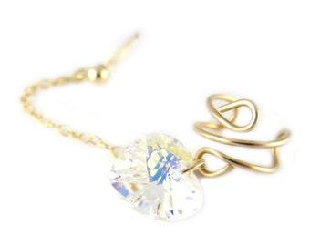 14K Gold Filled Swarovski Heart Cuff Earring