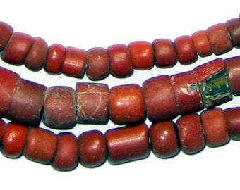 Antique Green Heart Beads - Small African Glass Beads - African Trade Beads - Made in Africa ** (GREEN-HEARTS-202)