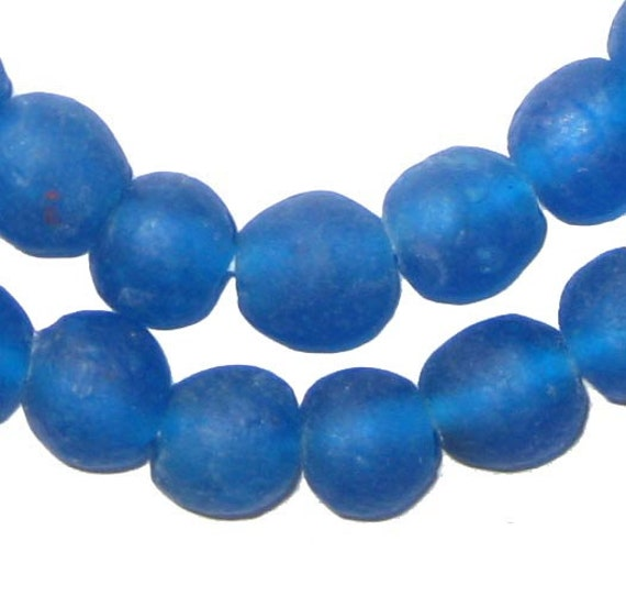 Bead Glass African Beads: 50 Recycled Glass Beads African Beads Azul Blue By