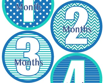 Baby Month Stickers Monthly Milestone Stickers Baby Boy Blue and Teal First Year Month Stickers Baby Shower Gift and Photo Prop - Andrew-T