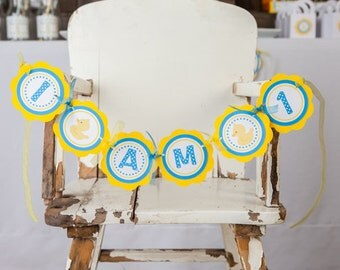Yellow Rubber Duck Themed First Birthday Banner -  I AM 1 MINI BANNER - Yellow Duck Birthday Party Decorations in Aqua Blue and Yellow