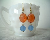 Shades of Summer - Blue and Orange Glass Bead Earrings