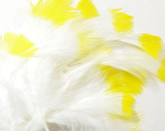 Marabou Feather Dyed Tips-Yellow 6g