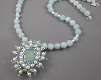 Amazonite & Pearl Bead Necklace