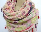 Gorgeous Big Shawl with tassel, scarf , early Autumn,, holiday, Boho
