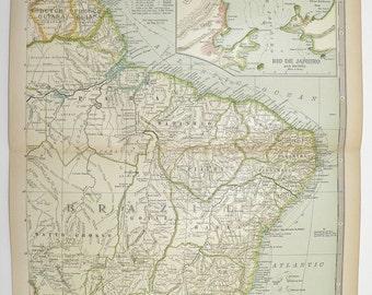NE South America Map 1899 Brazil Map, Guiana Rio de Janeiro, Amazon, Vintage Travel Map, Wedding Gift for Couple, Antique Map Brazil