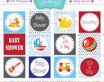 """INSTANT DOWNLOAD -2"""" Baby Shower Party Favor Toppers-  -Printable Party Tag, Cupcake Topper, DIY, You Print, You Cut -"""