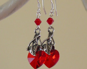 Deep red Swarovski heart