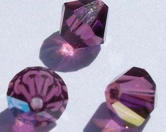 Swarovski Elements Crystal Beads BICONE  crystal beads Amethyst AB -- Available in 3mm, 4mm, 6mm and 8mm
